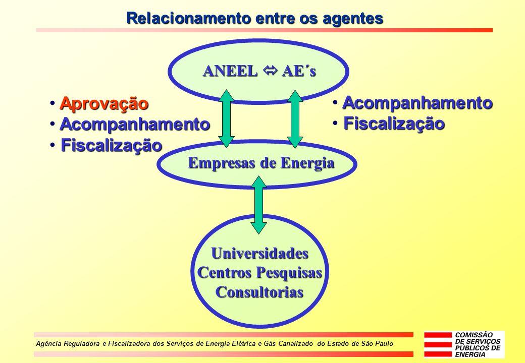 Agência Reguladora e Fiscalizadora dos Serviços de Energia Elétrica e Gás Canalizado do Estado de São Paulo Empresas de Energia Universidades Centros