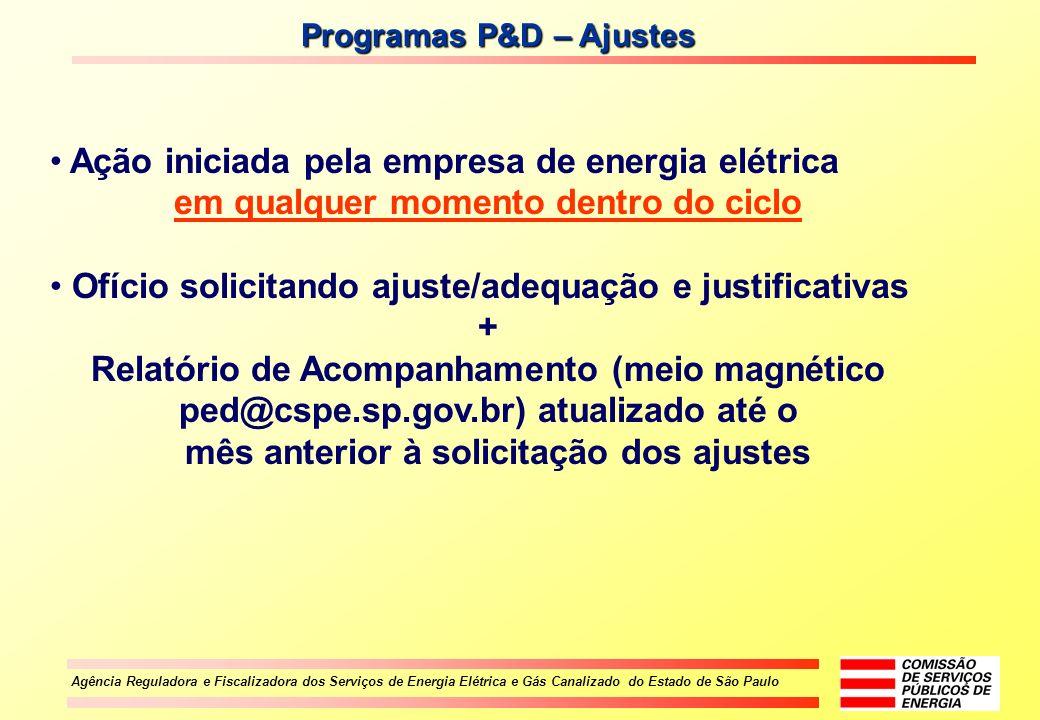 Agência Reguladora e Fiscalizadora dos Serviços de Energia Elétrica e Gás Canalizado do Estado de São Paulo Programas P&D – Ajustes Ação iniciada pela