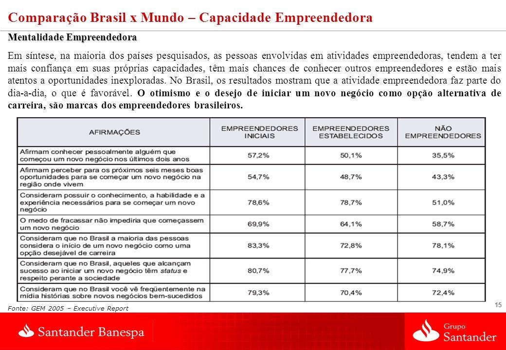 15 Fonte: GEM 2005 – Executive Report Comparação Brasil x Mundo – Capacidade Empreendedora Mentalidade Empreendedora Em síntese, na maioria dos países