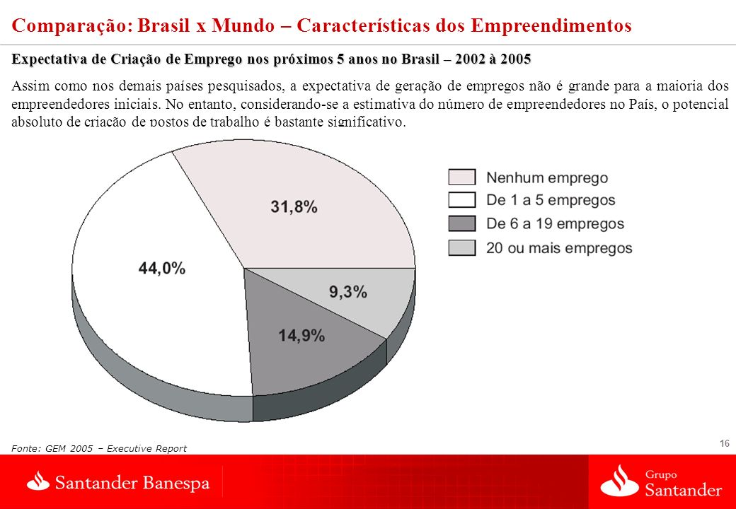 16 Expectativa de Criação de Emprego nos próximos 5 anos no Brasil – 2002 à 2005 Assim como nos demais países pesquisados, a expectativa de geração de