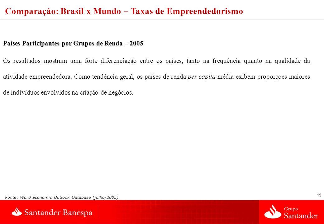 19 Países Participantes por Grupos de Renda – 2005 Os resultados mostram uma forte diferenciação entre os países, tanto na frequência quanto na qualid