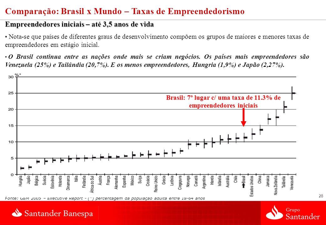 28 Comparação: Brasil x Mundo – Taxas de Empreendedorismo Empreendedores iniciais – até 3,5 anos de vida Nota-se que países de diferentes graus de desenvolvimento compõem os grupos de maiores e menores taxas de empreendedores em estágio inicial.