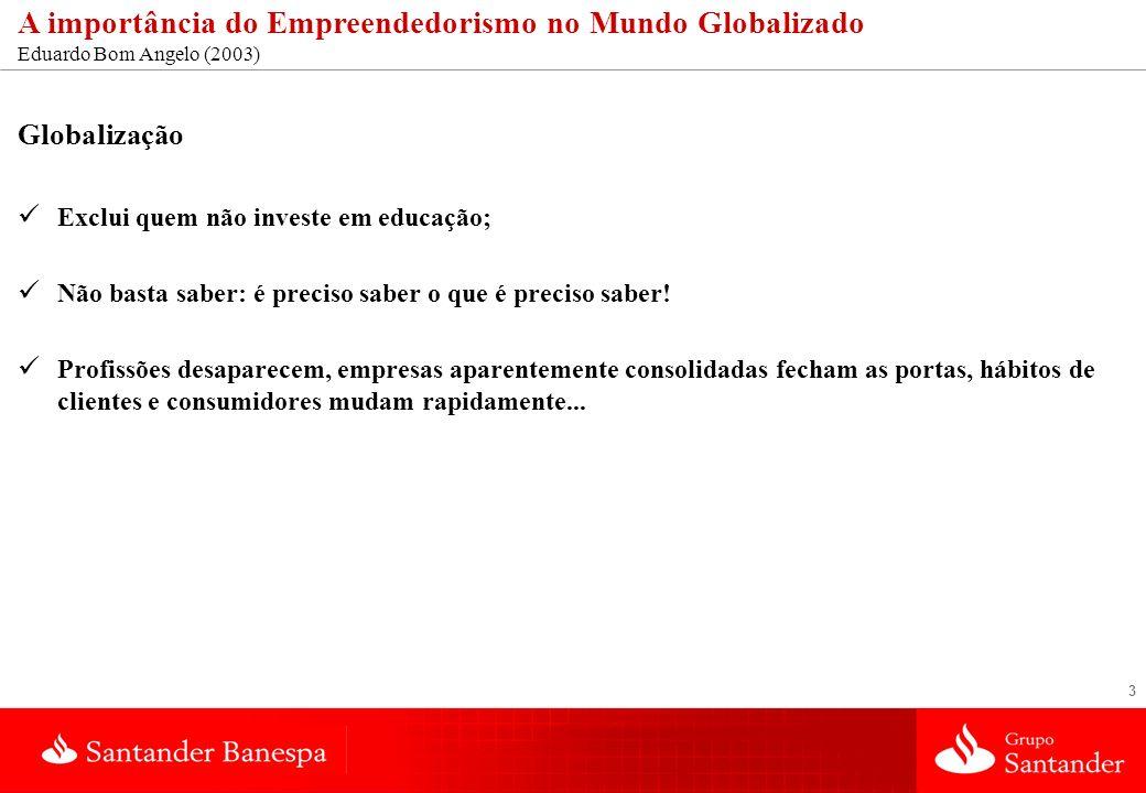 3 A importância do Empreendedorismo no Mundo Globalizado Eduardo Bom Angelo (2003) Globalização Exclui quem não investe em educação; Não basta saber: é preciso saber o que é preciso saber.