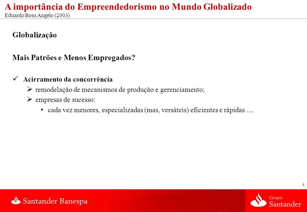 4 A importância do Empreendedorismo no Mundo Globalizado Eduardo Bom Angelo (2003) Globalização Mais Patrões e Menos Empregados? Acirramento da concor