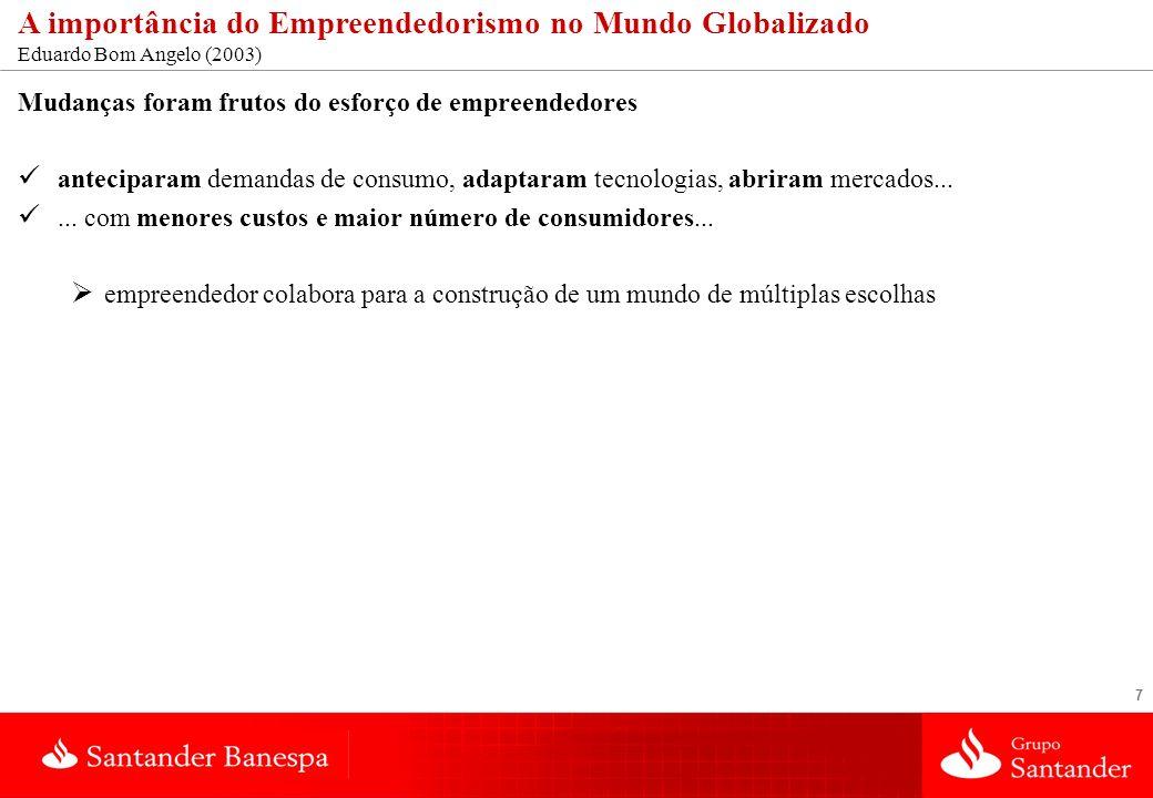 7 A importância do Empreendedorismo no Mundo Globalizado Eduardo Bom Angelo (2003) Mudanças foram frutos do esforço de empreendedores anteciparam dema