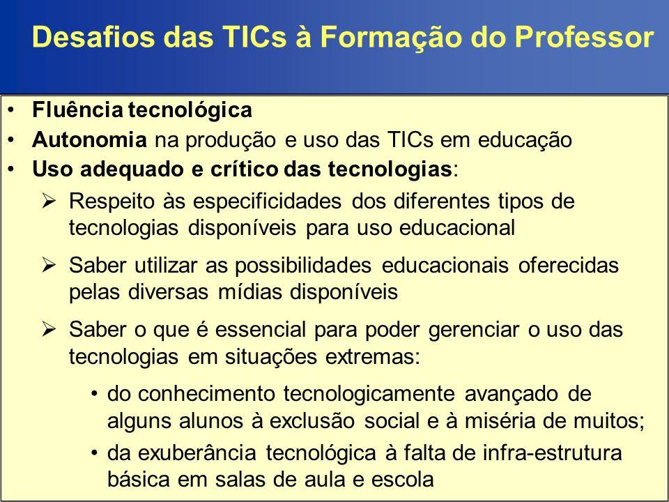 TICs e a Educação no Brasil Antecedentes: 80s - propostas de capacitação em tecnologias desvinculadas da capacitação e da ação docente regular 90s - uso mais intensivo das TICs - processo dependência econômica: 1994 - Banco Mundial: recomendações e condicionalidades sobre o uso de tecnologias digitais em educação; 1995 - criação da Secretaria de Educação a Distância (SEED) do Ministério da Educação instituída para realizar a revolução tecnológica, priorizando os programas para a formação de professores a distância.