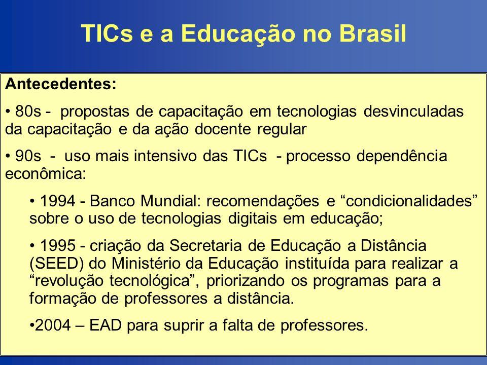TICs e a Educação no Brasil Antecedentes: 80s - propostas de capacitação em tecnologias desvinculadas da capacitação e da ação docente regular 90s - u