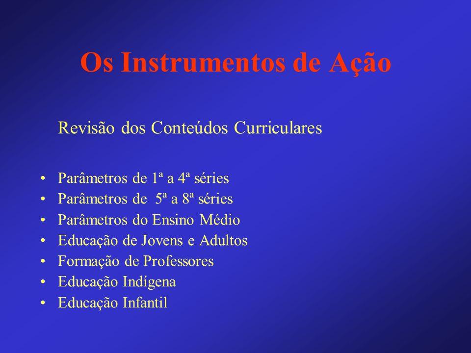 Os Instrumentos de Ação Revisão dos Conteúdos Curriculares Parâmetros de 1ª a 4ª séries Parâmetros de 5ª a 8ª séries Parâmetros do Ensino Médio Educaç