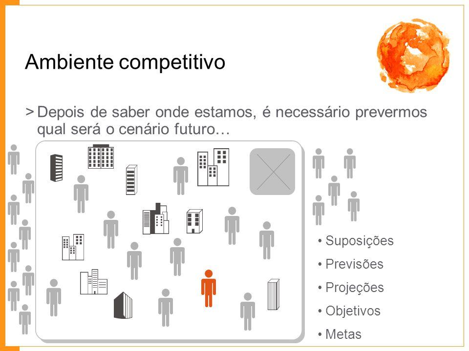 Ambiente competitivo >Depois de saber onde estamos, é necessário prevermos qual será o cenário futuro… Suposições Previsões Projeções Objetivos Metas