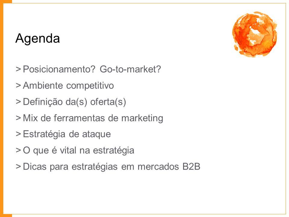 Agenda >Posicionamento? Go-to-market? >Ambiente competitivo >Definição da(s) oferta(s) >Mix de ferramentas de marketing >Estratégia de ataque >O que é