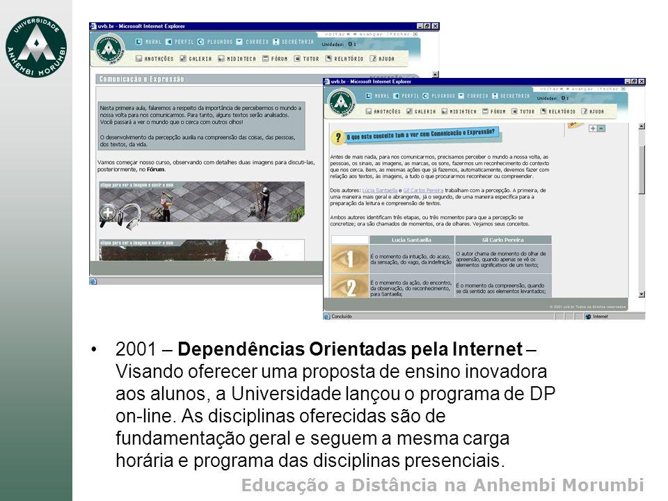 Educação a Distância na Anhembi Morumbi 2001 – Dependências Orientadas pela Internet – Visando oferecer uma proposta de ensino inovadora aos alunos, a Universidade lançou o programa de DP on-line.