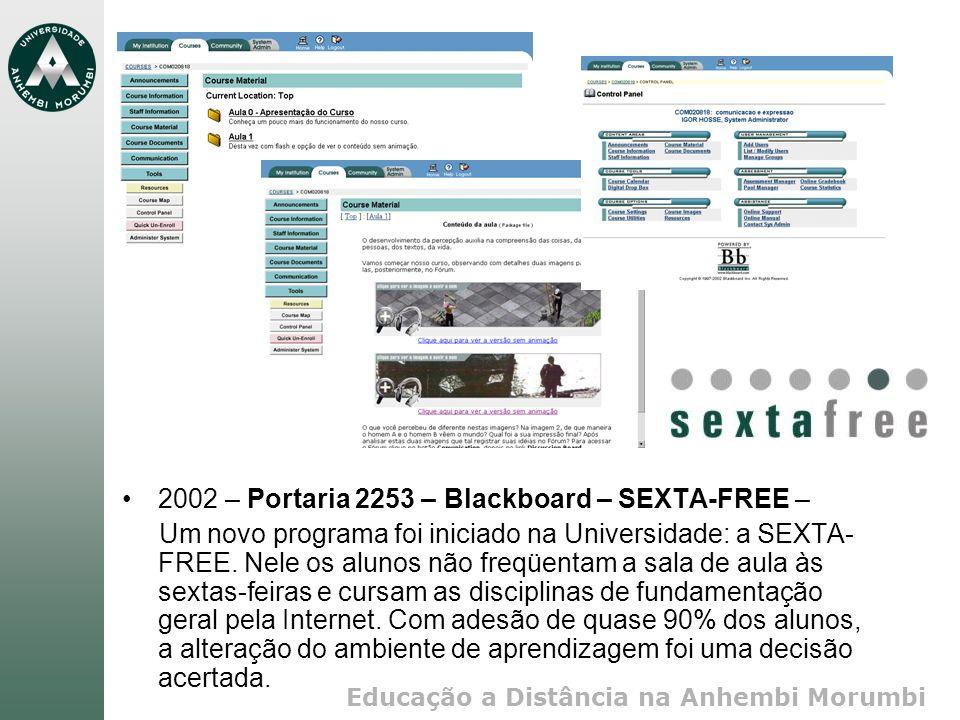 Educação a Distância na Anhembi Morumbi 2002 – Portaria 2253 – Blackboard – SEXTA-FREE – Um novo programa foi iniciado na Universidade: a SEXTA- FREE.
