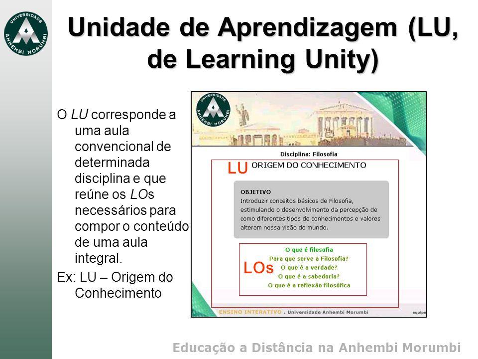 Educação a Distância na Anhembi Morumbi Unidade de Aprendizagem (LU, de Learning Unity) O LU corresponde a uma aula convencional de determinada disciplina e que reúne os LOs necessários para compor o conteúdo de uma aula integral.
