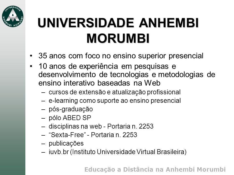 Educação a Distância na Anhembi Morumbi UNIVERSIDADE ANHEMBI MORUMBI 35 anos com foco no ensino superior presencial 10 anos de experiência em pesquisa