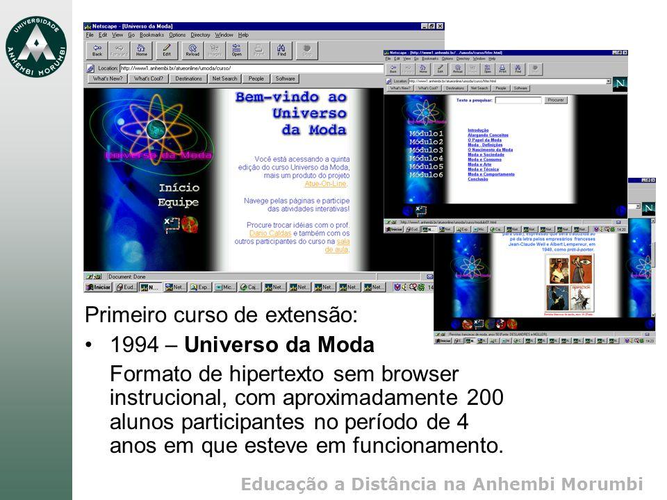 Educação a Distância na Anhembi Morumbi Primeiro curso de extensão: 1994 – Universo da Moda Formato de hipertexto sem browser instrucional, com aproximadamente 200 alunos participantes no período de 4 anos em que esteve em funcionamento.