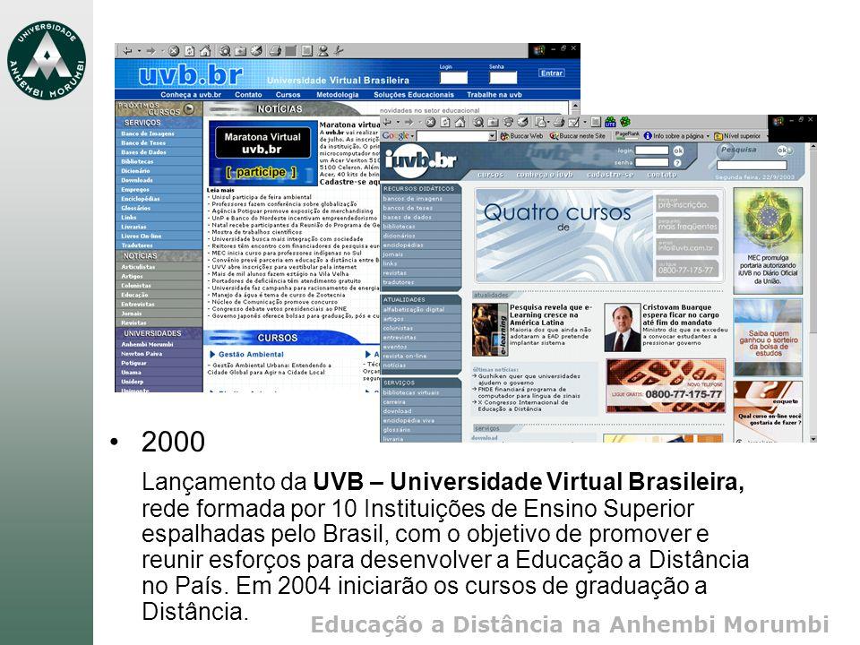 Educação a Distância na Anhembi Morumbi 2000 Lançamento da UVB – Universidade Virtual Brasileira, rede formada por 10 Instituições de Ensino Superior espalhadas pelo Brasil, com o objetivo de promover e reunir esforços para desenvolver a Educação a Distância no País.