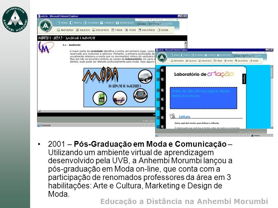 Educação a Distância na Anhembi Morumbi 2001 – Pós-Graduação em Moda e Comunicação – Utilizando um ambiente virtual de aprendizagem desenvolvido pela