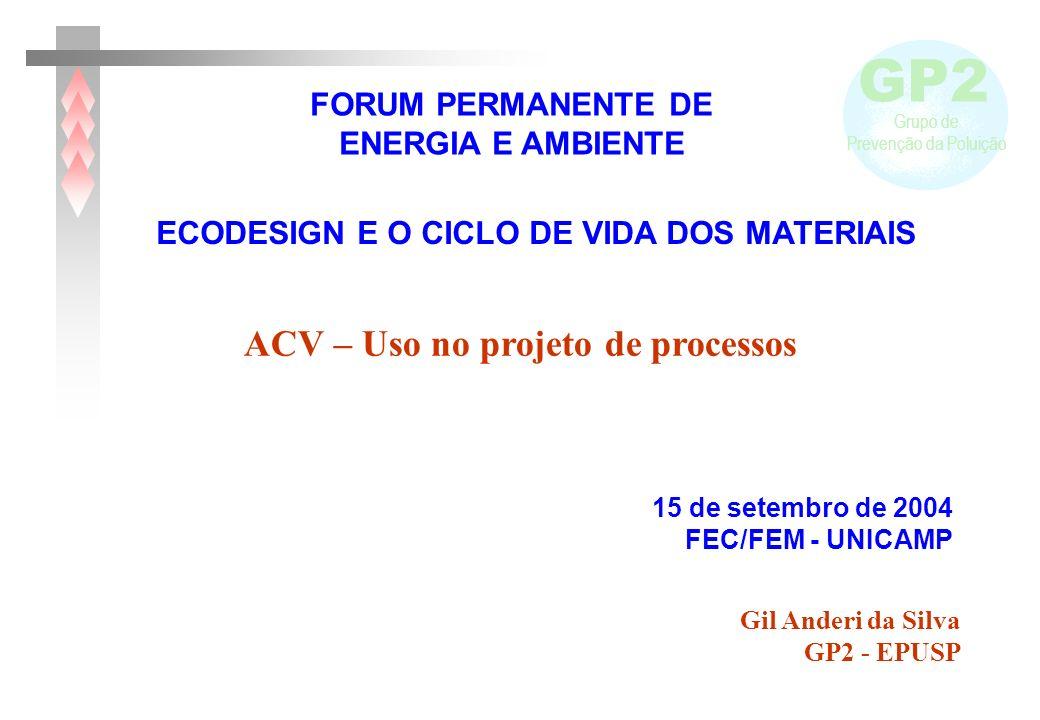 GP2 Grupo de Prevenção da Poluição Gil Anderi da Silva GP2 - EPUSP FORUM PERMANENTE DE ENERGIA E AMBIENTE 15 de setembro de 2004 FEC/FEM - UNICAMP ECODESIGN E O CICLO DE VIDA DOS MATERIAIS ACV – Uso no projeto de processos