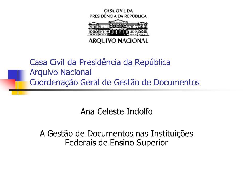 Casa Civil da Presidência da República Arquivo Nacional Coordenação Geral de Gestão de Documentos Ana Celeste Indolfo A Gestão de Documentos nas Insti