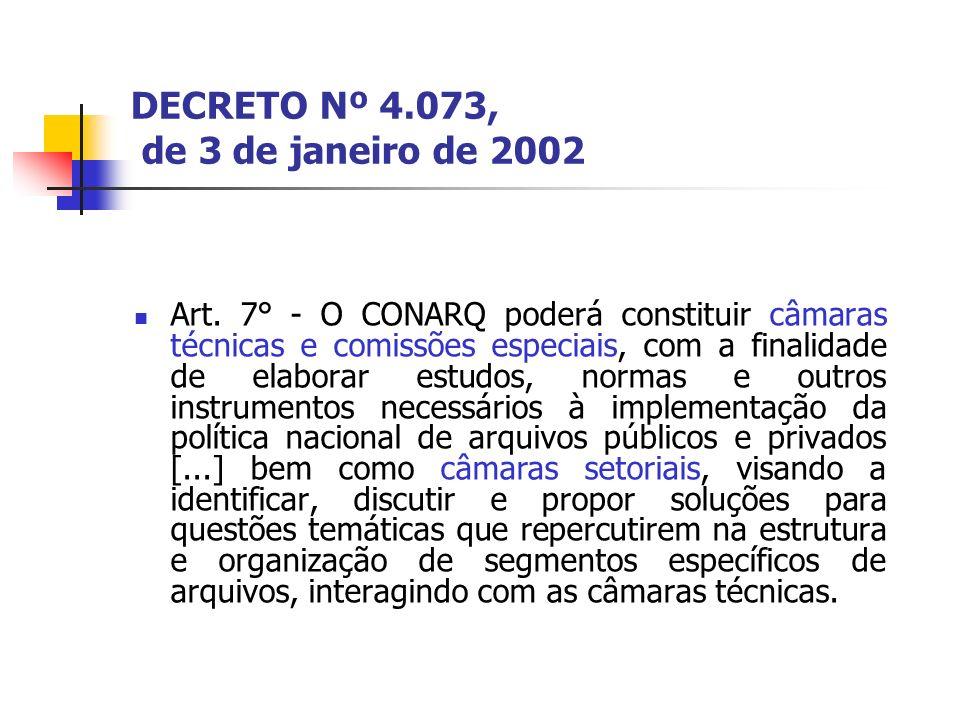 DECRETO Nº 4.073, de 3 de janeiro de 2002 Art. 7° - O CONARQ poderá constituir câmaras técnicas e comissões especiais, com a finalidade de elaborar es