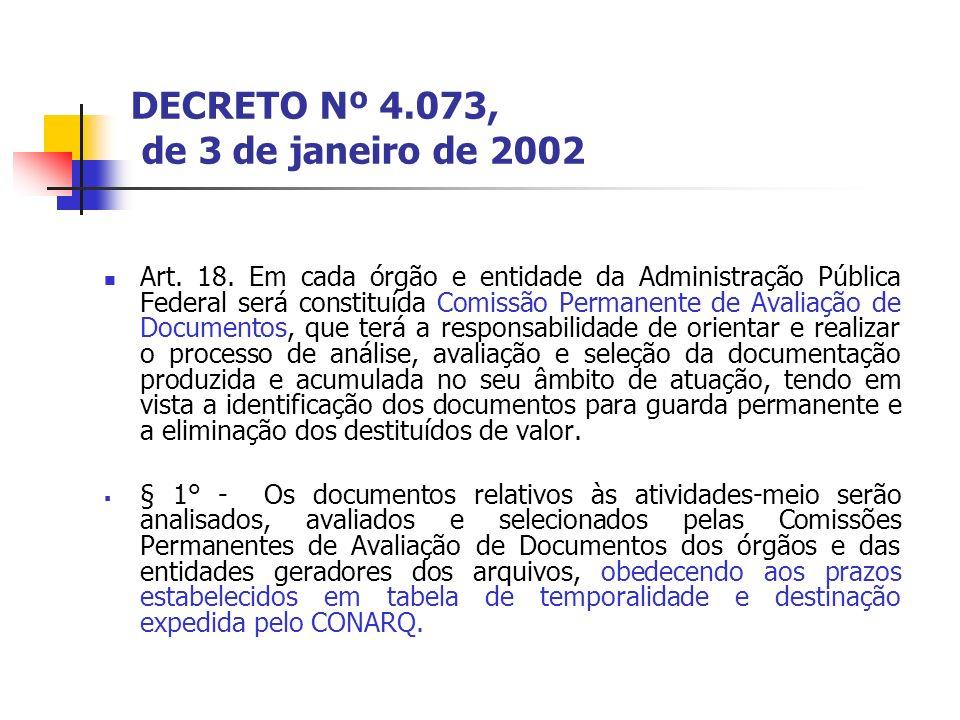 DECRETO Nº 4.073, de 3 de janeiro de 2002 Art. 18. Em cada órgão e entidade da Administração Pública Federal será constituída Comissão Permanente de A