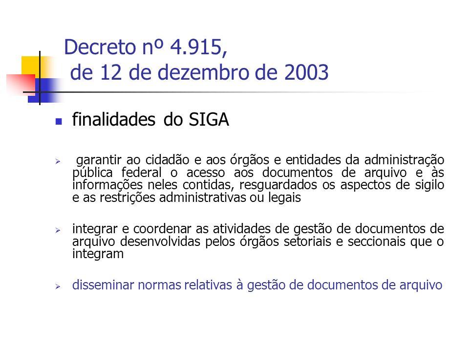 Decreto nº 4.915, de 12 de dezembro de 2003 finalidades do SIGA garantir ao cidadão e aos órgãos e entidades da administração pública federal o acesso