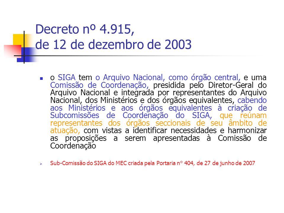 Decreto nº 4.915, de 12 de dezembro de 2003 o SIGA tem o Arquivo Nacional, como órgão central, e uma Comissão de Coordenação, presidida pelo Diretor-G