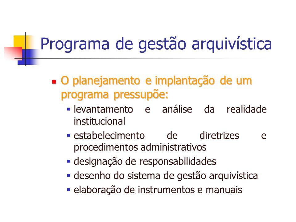 Programa de gestão arquivística O planejamento e implantação de um programa pressupõe: O planejamento e implantação de um programa pressupõe: levantam