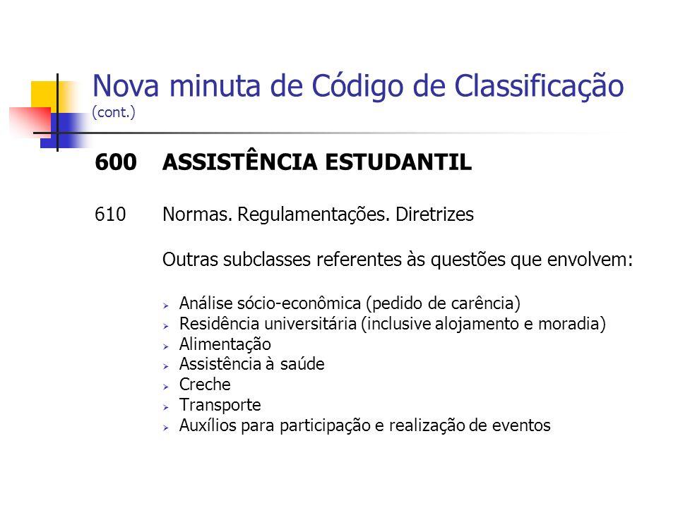 Nova minuta de Código de Classificação (cont.) 600ASSISTÊNCIA ESTUDANTIL 610Normas. Regulamentações. Diretrizes Outras subclasses referentes às questõ