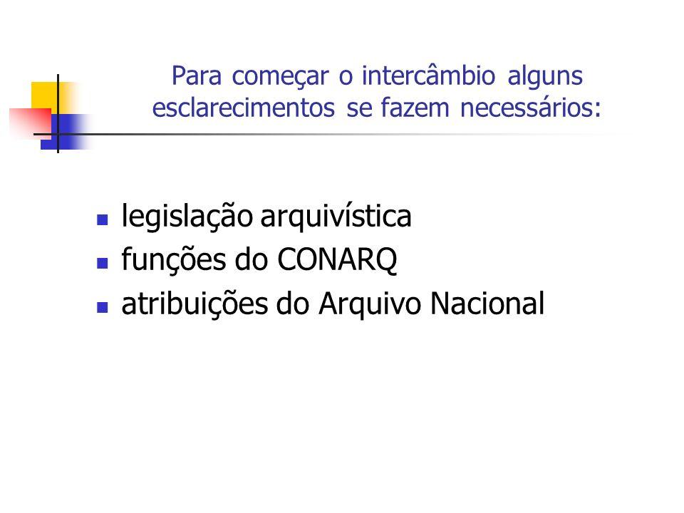 Para começar o intercâmbio alguns esclarecimentos se fazem necessários: legislação arquivística funções do CONARQ atribuições do Arquivo Nacional