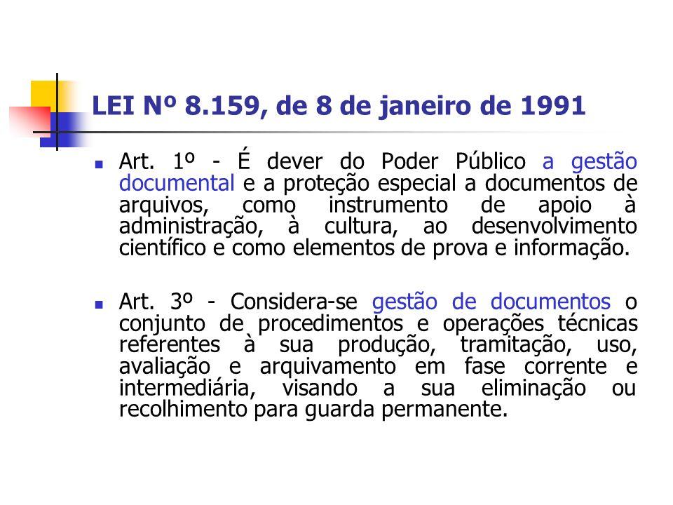 LEI Nº 8.159, de 8 de janeiro de 1991 Art. 1º - É dever do Poder Público a gestão documental e a proteção especial a documentos de arquivos, como inst