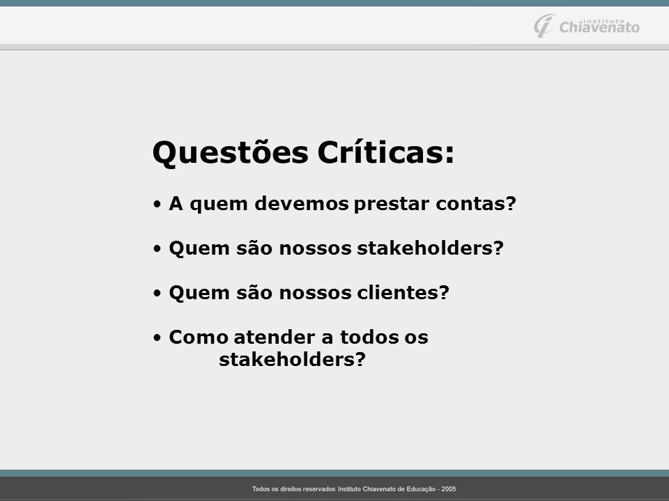 Questões Críticas: A quem devemos prestar contas? Quem são nossos stakeholders? Quem são nossos clientes? Como atender a todos os stakeholders?