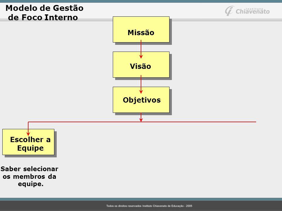 Modelo de Gestão de Foco Interno Missão Visão Objetivos Escolher a Equipe Saber selecionar os membros da equipe.