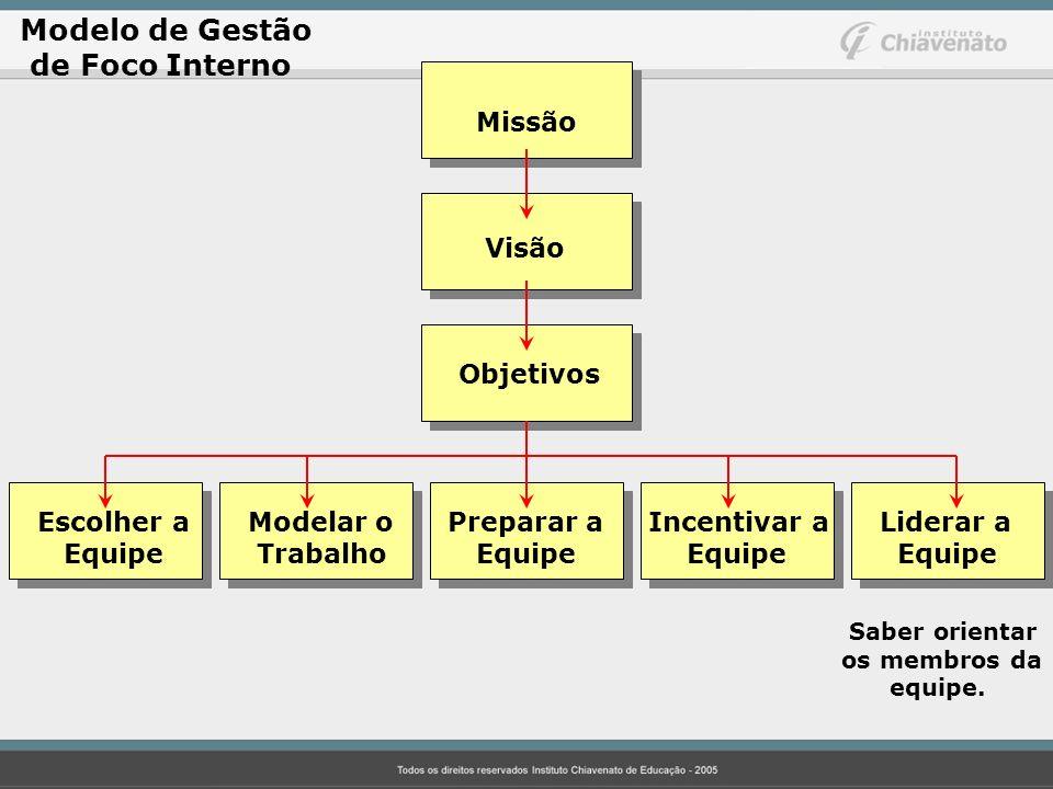 Modelo de Gestão de Foco Interno Missão Visão Objetivos Escolher aModelar o Preparar a Incentivar a Liderar a Equipe Trabalho Equipe Equipe Equipe Sab