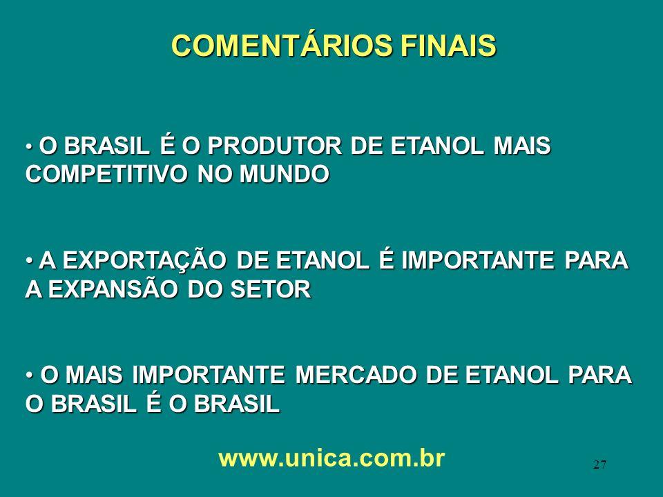 27 www.unica.com.br COMENTÁRIOS FINAIS O BRASIL É O PRODUTOR DE ETANOL MAIS COMPETITIVO NO MUNDO O BRASIL É O PRODUTOR DE ETANOL MAIS COMPETITIVO NO M