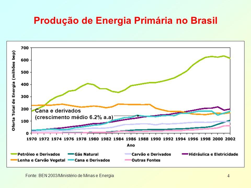 4 Produção de Energia Primária no Brasil Fonte: BEN 2003/Ministério de Minas e Energia Cana e derivados (crescimento médio 6.2% a.a)