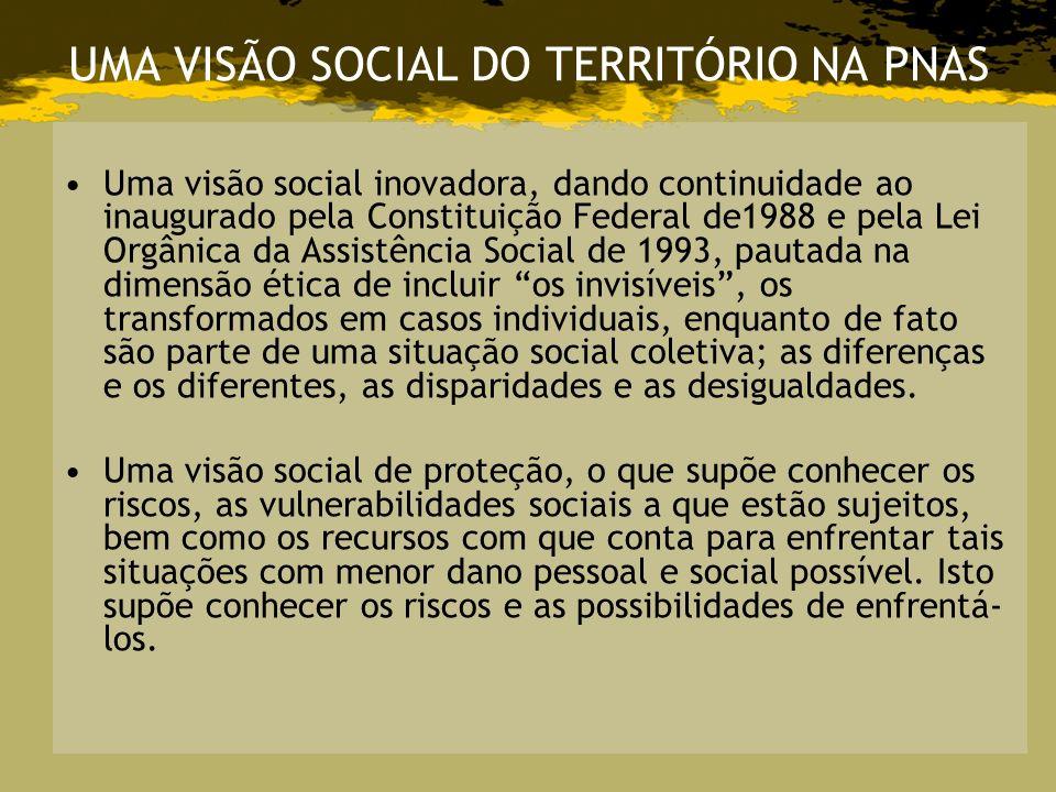 UMA VISÃO SOCIAL DO TERRITÓRIO NA PNAS Uma visão social inovadora, dando continuidade ao inaugurado pela Constituição Federal de1988 e pela Lei Orgâni