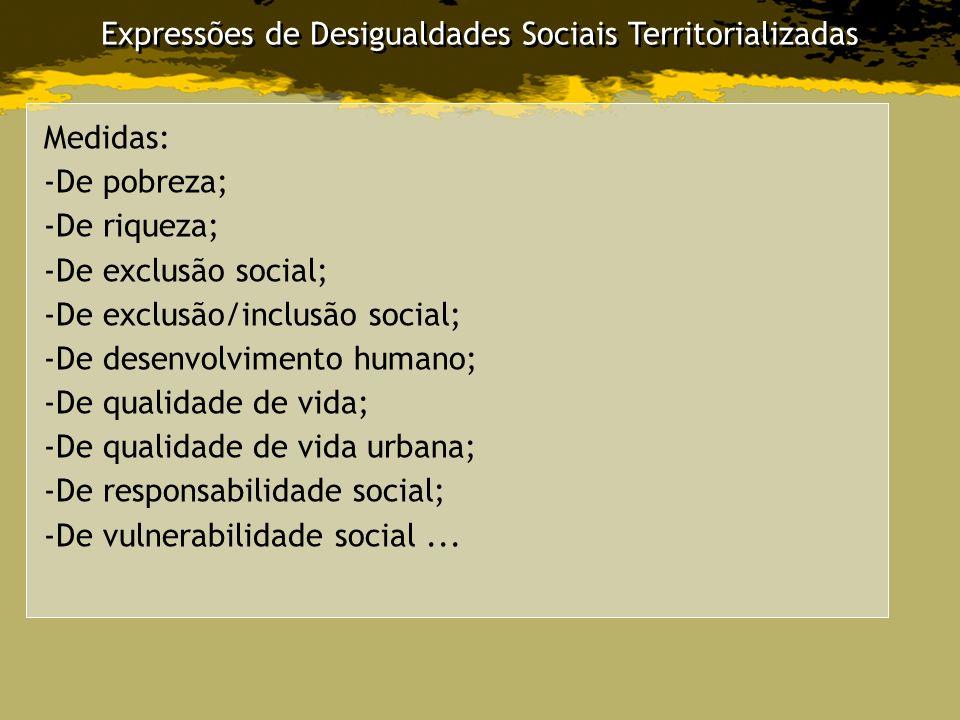 Expressões de Desigualdades Sociais Territorializadas Medidas: -De pobreza; -De riqueza; -De exclusão social; -De exclusão/inclusão social; -De desenv
