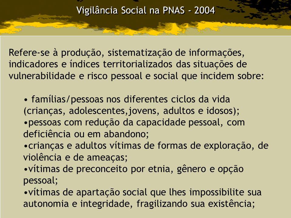 Vigilância Social na PNAS - 2004 Refere-se à produção, sistematização de informações, indicadores e índices territorializados das situações de vulnera