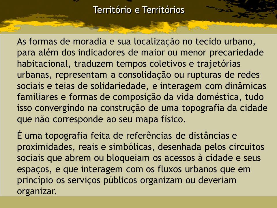 Território e Territórios As formas de moradia e sua localização no tecido urbano, para além dos indicadores de maior ou menor precariedade habitaciona