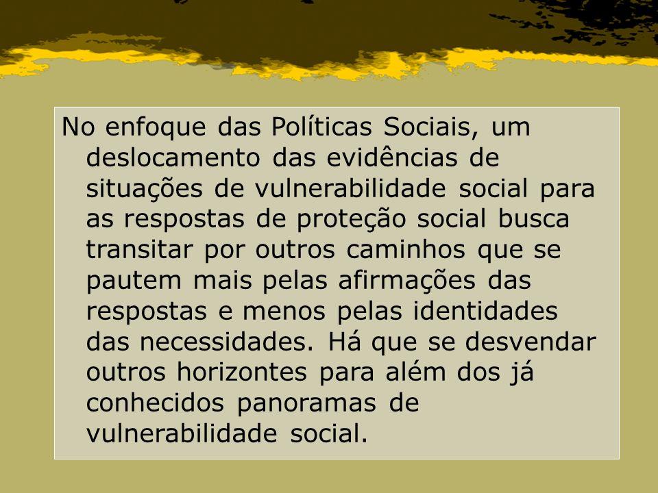 No enfoque das Políticas Sociais, um deslocamento das evidências de situações de vulnerabilidade social para as respostas de proteção social busca tra