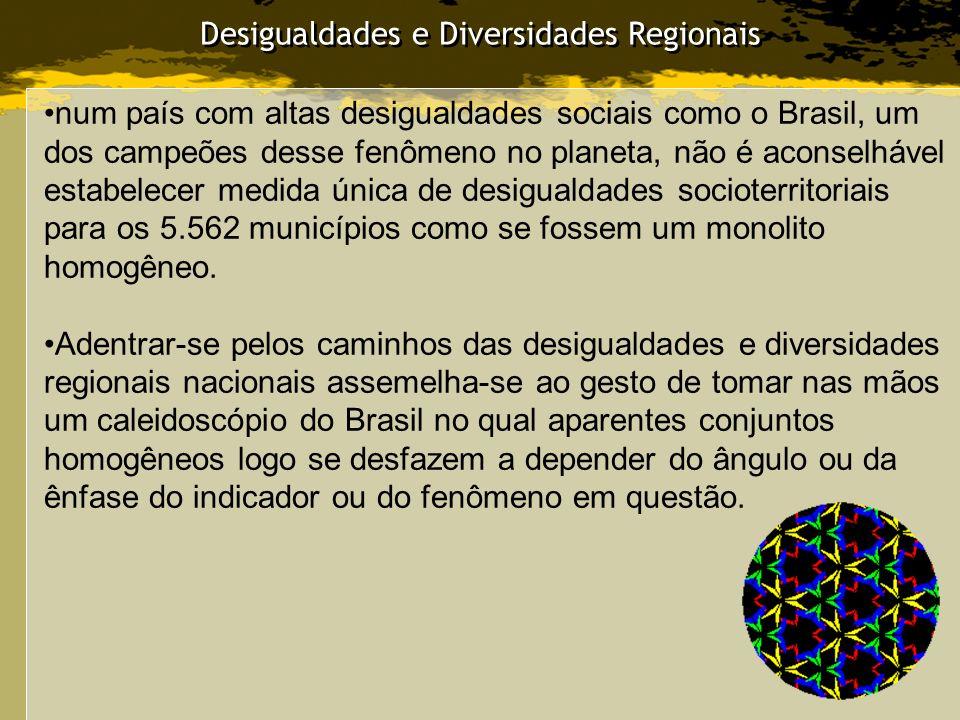 Desigualdades e Diversidades Regionais num país com altas desigualdades sociais como o Brasil, um dos campeões desse fenômeno no planeta, não é aconse