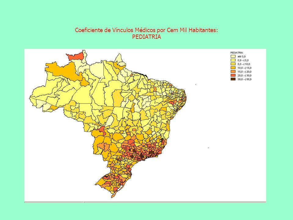 Coeficiente de Vínculos Médicos por Cem Mil Habitantes: PEDIATRIA