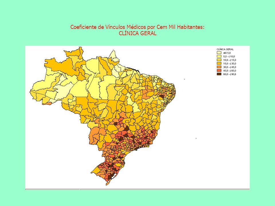 Coeficiente de Vínculos Médicos por Cem Mil Habitantes: CLÍNICA GERAL Coeficiente de Vínculos Médicos por Cem Mil Habitantes: GINECO-OBSTETRÍCIA