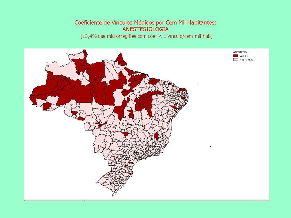 Coeficiente de Vínculos Médicos por Cem Mil Habitantes: ANESTESIOLOGIA [13,4% das microrregiões com coef < 1 vínculo/cem mil hab] Coeficiente de Vínculos Médicos por Cem Mil Habitantes: CIRURGIA GERAL