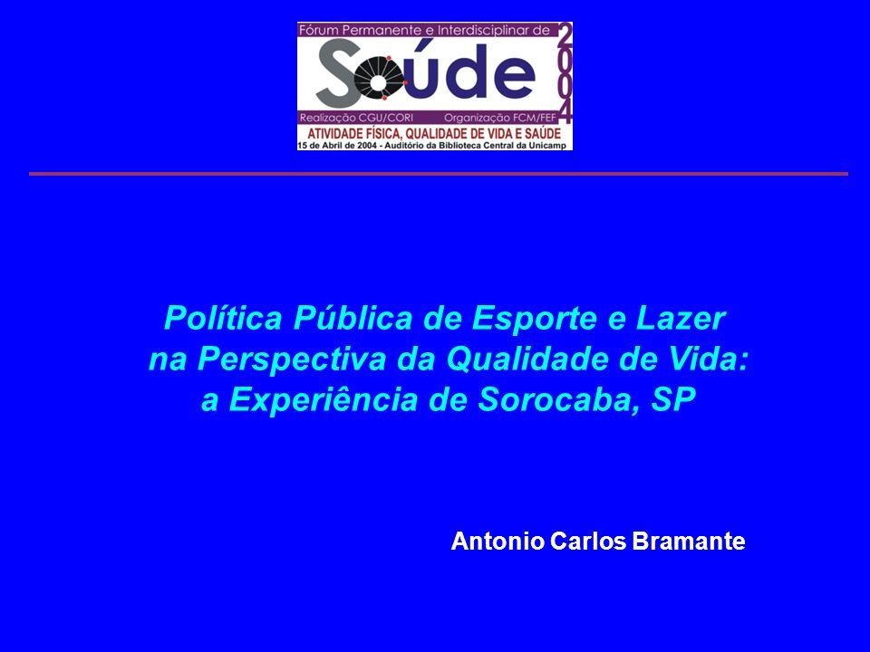 Política Pública de Esporte e Lazer na Perspectiva da Qualidade de Vida: a Experiência de Sorocaba, SP Antonio Carlos Bramante