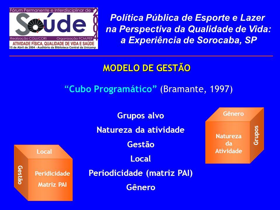 Cubo Programático (Bramante, 1997) MODELO DE GESTÃO Natureza da Atividade Grupos Gênero Grupos alvo Natureza da atividade Gestão Local Periodicidade (