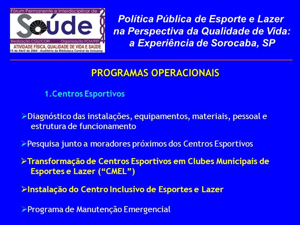 PROGRAMAS OPERACIONAIS PROGRAMAS OPERACIONAIS 1.Centros Esportivos Transformação de Centros Esportivos em Clubes Municipais de Esportes e Lazer (CMEL)