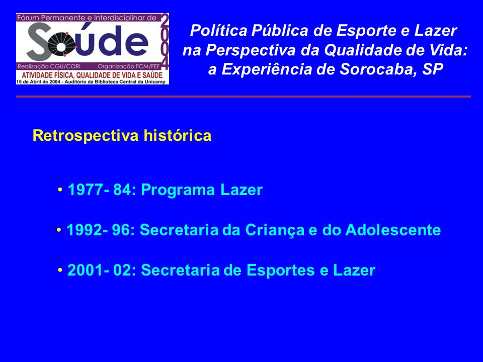Política Pública de Esporte e Lazer na Perspectiva da Qualidade de Vida: a Experiência de Sorocaba, SP Retrospectiva histórica 1977- 84: Programa Laze