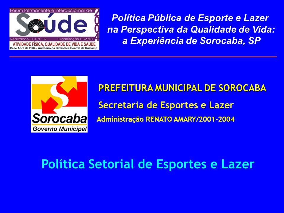 PREFEITURA MUNICIPAL DE SOROCABA PREFEITURA MUNICIPAL DE SOROCABA Secretaria de Esportes e Lazer Administração RENATO AMARY/2001-2004 Política Setoria
